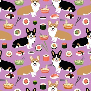 corgi noodle and sushi fabric ramen design corgis cute corgi design best dogs fabric
