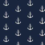 Anchor in navy sea