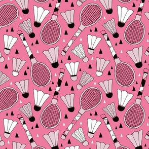 Cool tennis and badminton racket fun retro vintage sports theme in pink