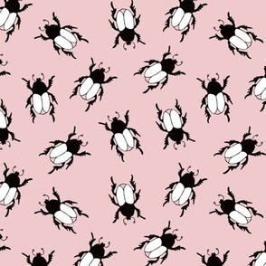 Quirky little beetle bugs sweet botanical insects print cool pink blush