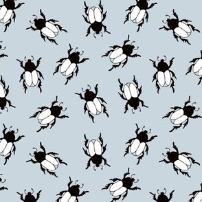 Quirky little beetle bugs sweet botanical insects print ice blue