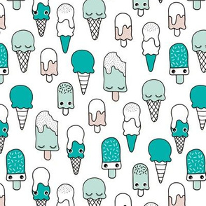 Colorful sweet summer ice cream popsicle sugar pastel pink kawaii illustration mint