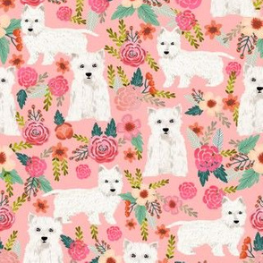 westie florals fabric cute west highland terrier dog design best westies fabric cute sewing projects for dog people