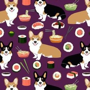 corgis sushi and noodles fabric cute food design noodle pot sushi corgis tri colored corgi fabric