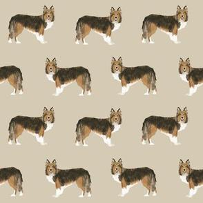 sheltie fabric sable and white shetland sheepdog design cute sheltie dog fabric
