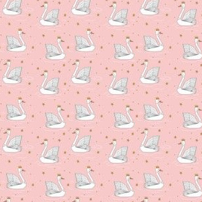 princess swan // pink swan fabric gold stars gold crown princess swan fabric andrea lauren swan design