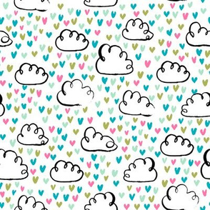 love clouds watercolor hearts heart fabric valentines fabric