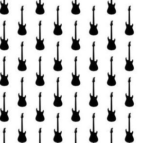 Black Electric Guitars on White