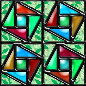 Pythagorean Stained Glass Garden Window