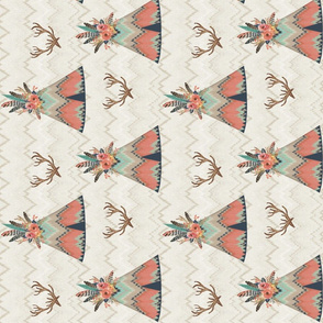 Rotated Teepees in Ikat Chevron