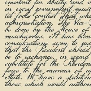 "Federalist Paper #68 - Alexander Hamilton  - Satin / 54"" wide"
