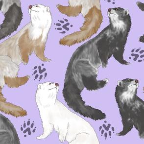 Cascading Ferrets - large purple
