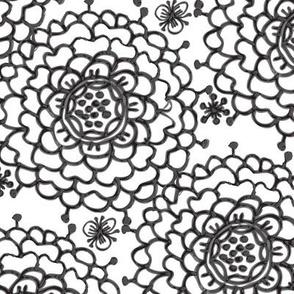 Black on White Chrysanthemums