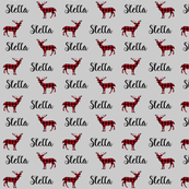 stella plaid deer custom name fabric personalized fabric