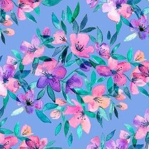 Diamond lattice watercolor floral - pink, purple, blue - horizontal