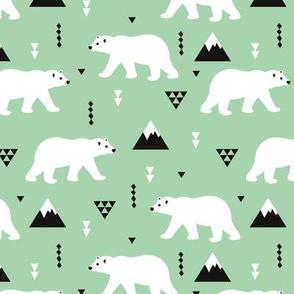 Cute polar bear winter mountain geometric triangle print mint