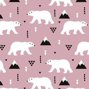 Cute polar bear winter mountain geometric triangle print plum purple