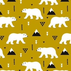 Cute polar bear ochre winter mountain geometric triangle print