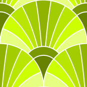 art deco fan scale : chartreuse green