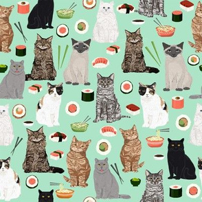 cat sushi fabric cute kawaii Japanese food cats kitty cat fabric