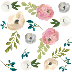 """August Floral in White - 18"""""""