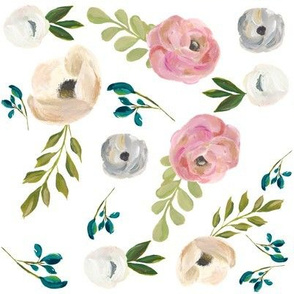 """August Floral in White - 8"""""""