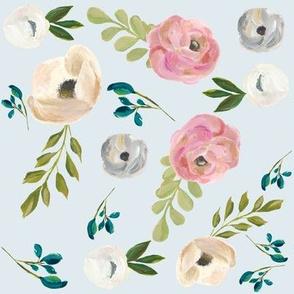 "August Floral - Light Blue 8"""