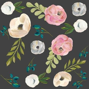 """August Floral Grey - 8"""""""
