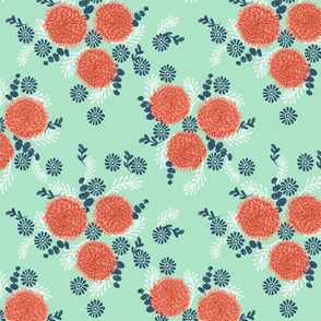 chrysanthemum mint and coral florals fabric girls sweet block printed flowers