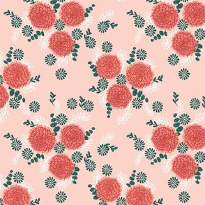 chrysanthemum pink and coral  florals fabric girls sweet block printed flowers
