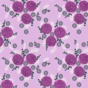 chrysanthemum purple florals fabric girls sweet block printed flowers