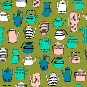 coffee and teapots // vintage retro teapot illustration by andrea lauren scandi colors retro design