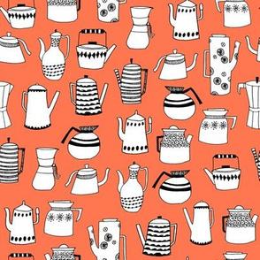 coffee and teapots // vintage retro orange kitchen fabric cute hand-drawn scandi fabric andrea lauren design