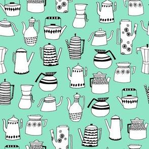 coffee and teapots // vintage retro teapots scandi mint design andrea lauren fabric