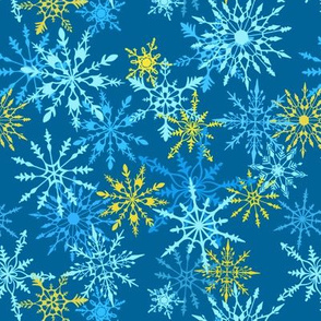 Snowflake Snowstorm in Blue and Gold