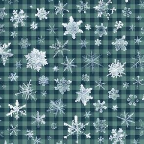 large snowflakes on dark ski gingham