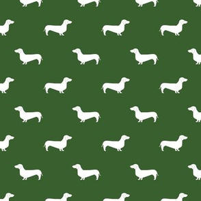 garden green dachshund silhouette fabric doxie design dachshunds fabric