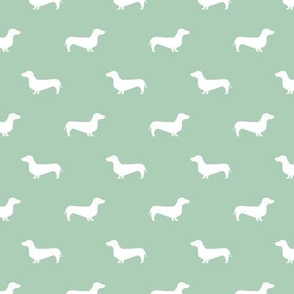mist green dachshund silhouette fabric doxie design dachshunds fabric