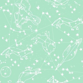 constellations // mint nursery baby fabric baby animals design andrea lauren fabric