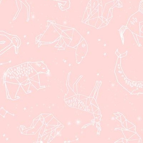 constellations // geometric animal nursery baby design baby pink cute constellations fabric
