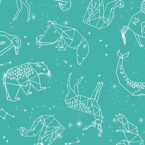 constellations // geometric animals baby nursery teal turquoise fabric andrea lauren design