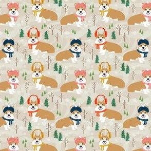 corgi snow day fabric winter dog design corgi fabric