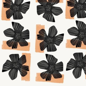 Black flowers on the wall