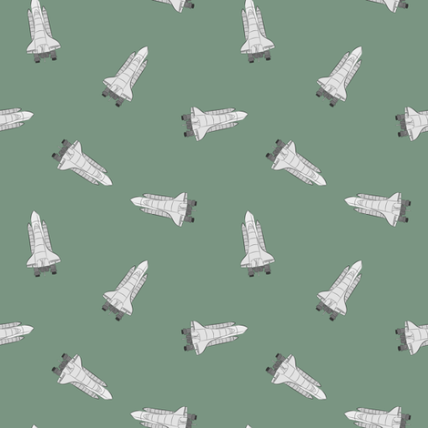 Space shuttle on green fabric susiprint spoonflower for Space shuttle fabric