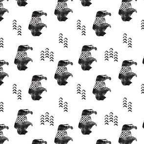 buffalo aztec - distressed (90) || b&w