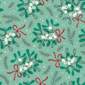 Vintage christmas ditsy mistletoe on mint