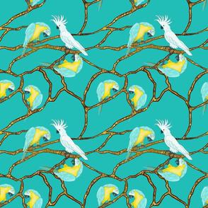 Tropical Birds on Golden Branches by Salzanos