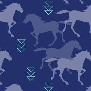 wild horses deep blue with mint