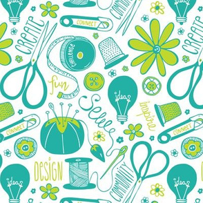 Design Sew Create Sewing Typography White Aqua Green