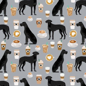 great dane coffee fabric grey cute dogs design black great danes design